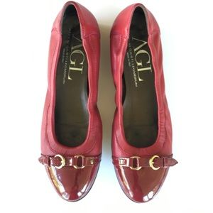 AGL Cap Toe Ballet Flats Red Burgundy Leather
